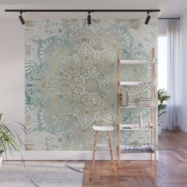 Mandala Flower, Teal and Gold, Floral Prints Wall Mural