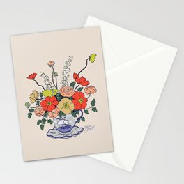 Teacup Flowers Stationery Cards