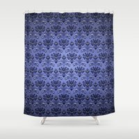 haunted mansion Shower Curtains featuring Beauty Haunted Mansion Wallpaper Stretching Room by ThreeBoys