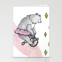 cycling Stationery Cards featuring Cycling Bear by Brooke Weeber