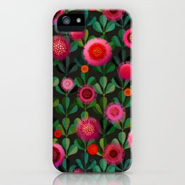 Bright Blooms Hand-Print Floral - Dark iPhone Case