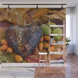 Autumn Still Life With Glass Heart Wall Mural