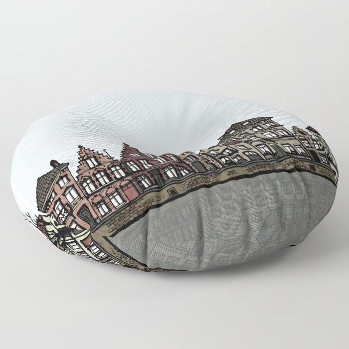 Bruges sketch Floor Pillow