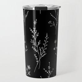 New Black Wildflowers Travel Mug
