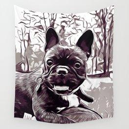 french bulldog basketball vector art black white Wall Tapestry