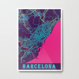 Barcelona Neon City Map, Barcelona Minimalist City Map Art Print Metal Print