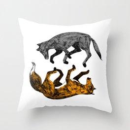 WOLF-FOX Throw Pillow