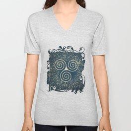 Triskelion Golden Three Spiral Celtic Symbol Unisex V-Neck