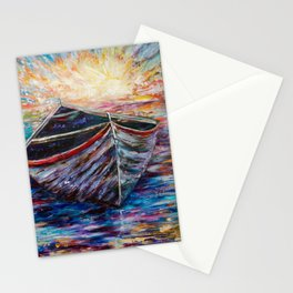 Wooden Boat at Sunrise Stationery Cards