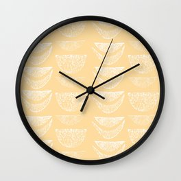 Textured Crescents in Butter Yellow Wall Clock