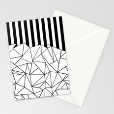 Abstract Outline Stripes Black and White Stationery Cards