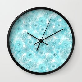 Turquoise aqua flower lace pattern Wall Clock