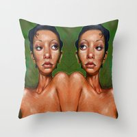 swan queen Throw Pillows featuring Swan by BookOfFaces