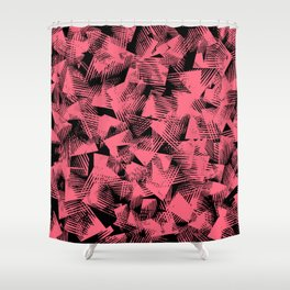 abstract pastel red shapes against black background Shower Curtain