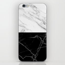 half black and white marble iPhone Skin