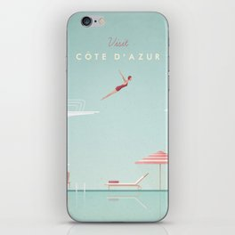 Vintage Côte d'Azur Travel Poster iPhone Skin