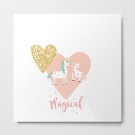 Magical Unicorn Valentine Couple Metal Print