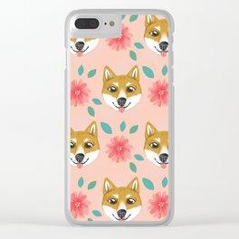 Shiba Inu Floral Clear iPhone Case
