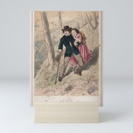 A young man helps a young girl down a steep slope. Coloured lithograph. Mini Art Print