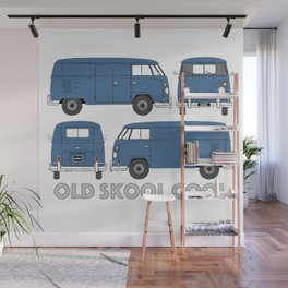 old skool cool – vintage commercial panel van in Dove Blue Wall Mural