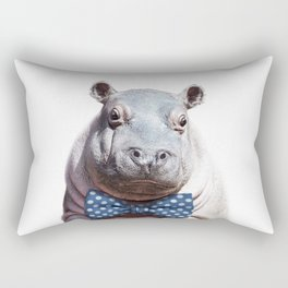 Baby Hippo With Bow Tie, Baby Animals Art Print By Synplus Rectangular Pillow