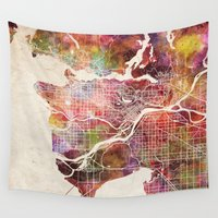 vancouver Wall Tapestries featuring Vancouver by MapMapMaps.Watercolors