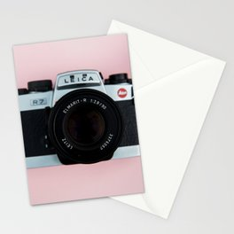Camera on Blush Pink Background Stationery Cards