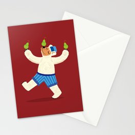 A Bear With Pears (colour variation) Stationery Cards