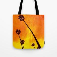Orange Palm Trees Tote Bag