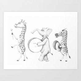 Safari Animal Parade Art Print