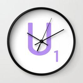 Purple Alphabet Scrabble Letter U Wall Clock