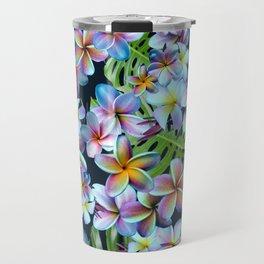 Rainbow Plumeria Dark Travel Mug