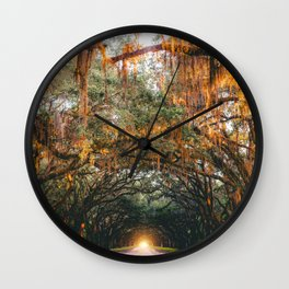 Tree Lined Road Wall Clock