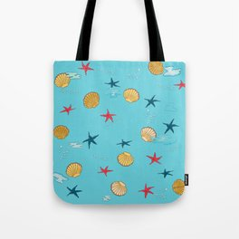 seashells and starfishes - blue Tote Bag
