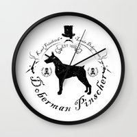 doberman Wall Clocks featuring Doberman White by Wesley Geral
