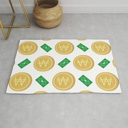 Korean won pattern background Rug
