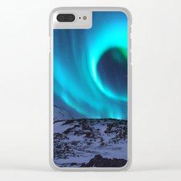 Aurora BorealiS Mountains Clear iPhone Case