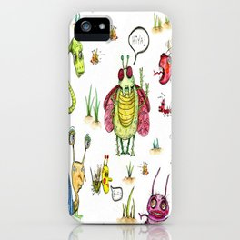 whimsical bug watercolor iPhone Case
