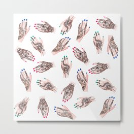 Modern watercolor henna tattooed hands pattern  Metal Print