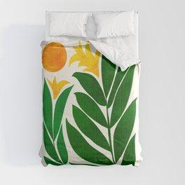 Mid Century Emerald Garden / Abstract Botanical Comforters