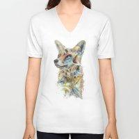 starfox V-neck T-shirts featuring Heroes of Lylat Starfox Inspired Classy Geek Painting by Barrett Biggers