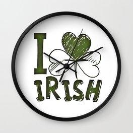 I Love Irish St Patrick's Day Green Shamrock Wall Clock