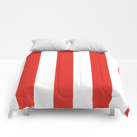 rayures blanches et rouges 7 Comforters