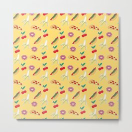 Modern yellow red fruit pizza sweet donuts food pattern Metal Print