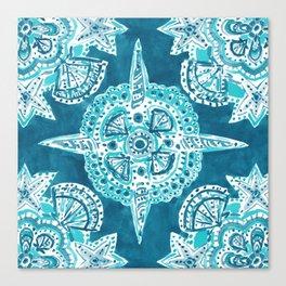 INNER MERMAID COMPASS Blue Nautical Mandala Canvas Print