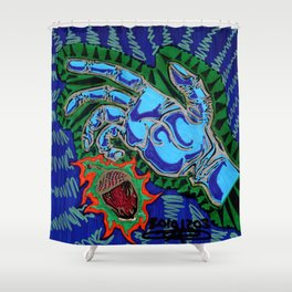 Blue Hand Grabbing Acorn Shower Curtain