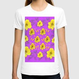 YELLOW AMARYLLIS FLOWERS & BUTTERFLIES PURPLE ART T-shirt