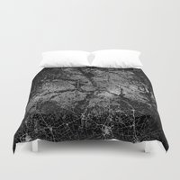 texas Duvet Covers featuring Dallas map Texas by Line Line Lines