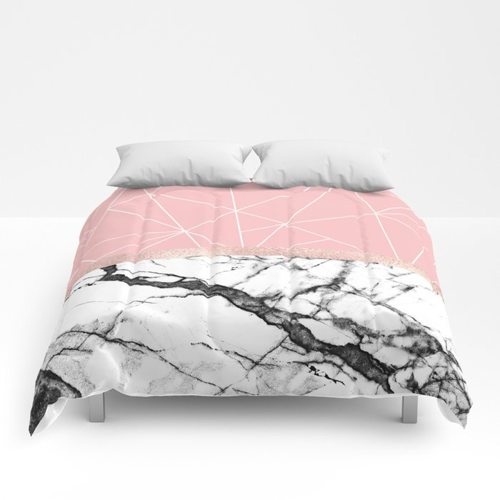 5becc662bb50d9 Blush Pink Geometric Triangles Rose Gold Marble Comforters by ...