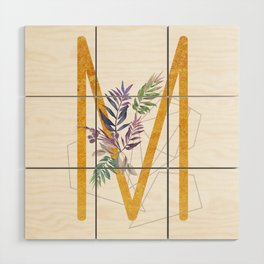 Modern glamorous personalized gold initial letter M, Custom initial name monogram gold alphabet prin Wood Wall Art
